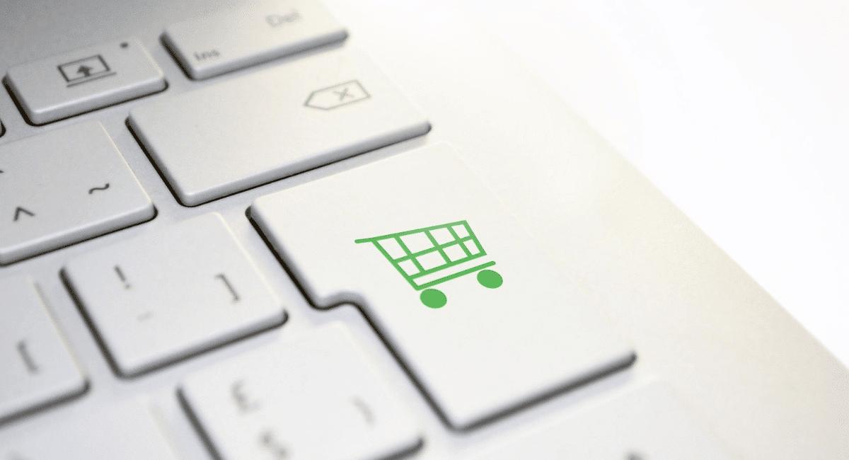 Shopping Cart Abandonment Statistics - Green cart painted on Enter button