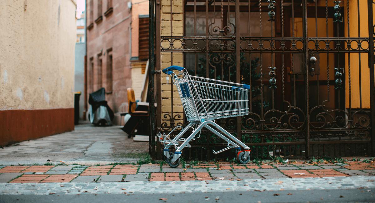 Shopping Cart Abandonment Statistics - Empty shopping cart on a street