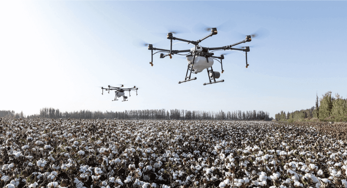 Fast Fashion Industry Statistics - Two drones above a cotton field