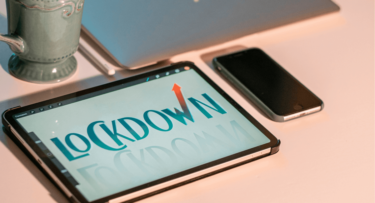 Online Shopping Statistics - Tablet displaying the word lockdown