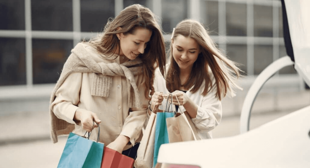 Shopping Addiction Statistics - Women with shopping bags